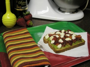Avocado Strawberry and Goat Cheese Toast