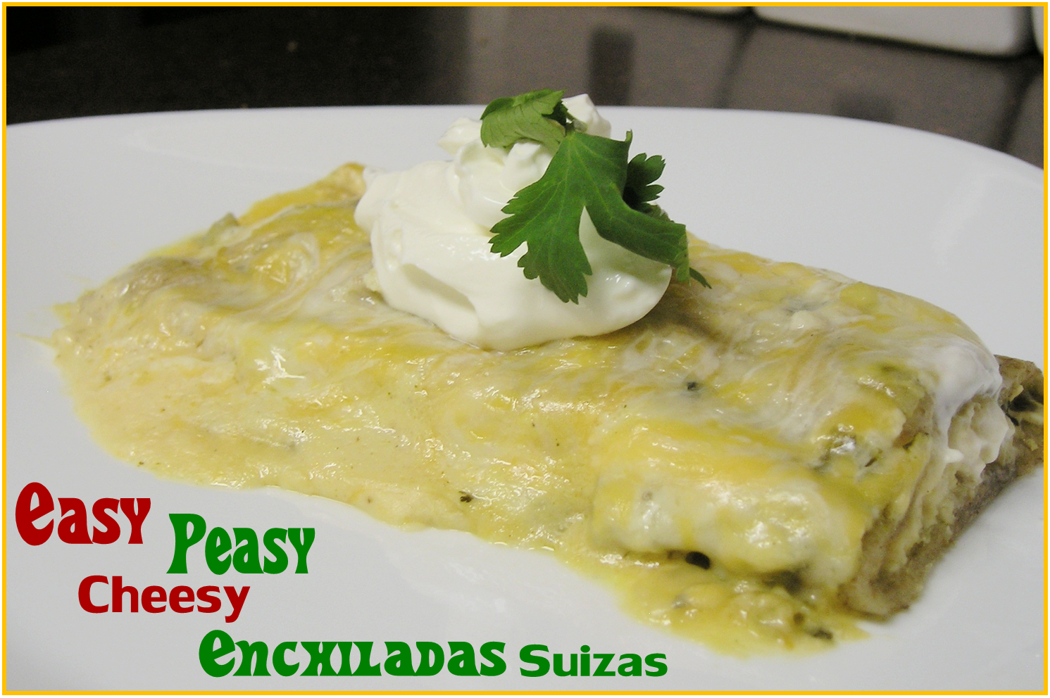Easy Peasy Very Cheesy Enchiladas Suiza | The Grumbling Belly